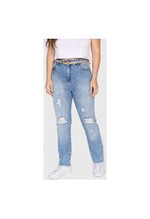 Calça Jeans Cantão Reta Destroyed Azul