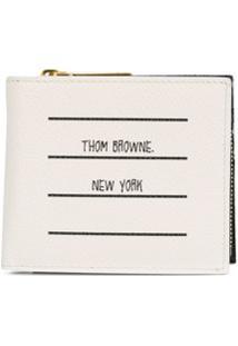 Thom Browne Carteira Dobrável Com Estampa De Logo - Branco