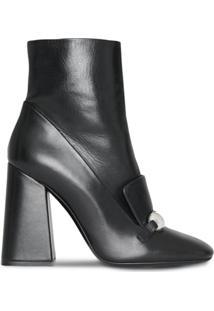 Burberry Ankle Boot De Couro - Preto