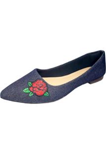 Sapatilha Xic Xic Bordado Flor Jeans Azul Marinho