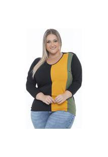 Blusa Bi Collor Plus Size Preto