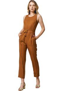 Macacão Mx Fashion Longo Com Cinto Estella Caramelo