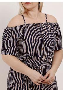 Blusa Ciganinha Plus Size Feminina Autentique Azul Marinho/Bege