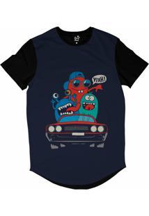 Camiseta Longline Long Beach Lb Lowrider Sublimada Azul Marinho