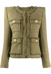 Balmain Jaqueta Cropped De Tweed - Verde