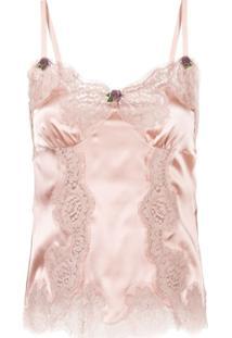 Dolce & Gabbana Blusa De Seda Com Renda - Rosa