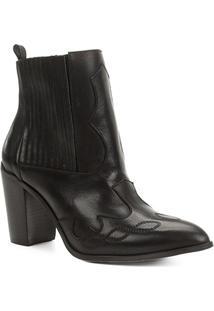 Bota Cano Curto Shoestock Elástico Salto Bloco Feminina - Feminino-Preto