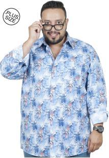 Camisa Plus Size Bigshirts Manga Longa Flor B