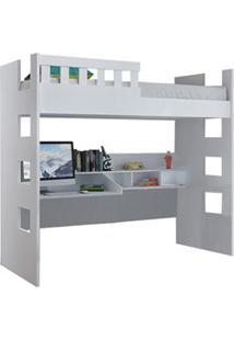 Cama Alta Com Escrivaninha Escada Bilateral Faces F04 Branco - Mpozena