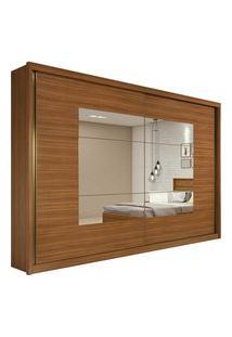 Guarda Roupa Casal C/ Espelho 2 Portas De Correr 6 Gavetas Toronto Plus Rovere Naturale/Off White/Rovere Naturale Lopas