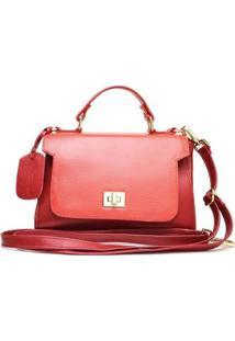 Bolsa De Couro Menor Hendy Bag Alça De Mão Com Repartição Feminina - Feminino-Vermelho Escuro
