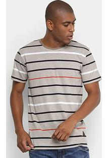 Camiseta Forum Estampa Listrada Masculina - Masculino-Cinza+Preto