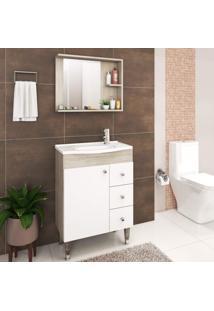 Gabinete Com Balcão E Cuba Para Banheiro 1 Porta Fellicci Nogueira/Branco