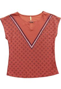 Blusa Decote Redondo Estampada Laranja