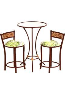 Conjunto De Mesa De Cozinha Com 2 Bancos | Banquetas Estofados Lima Jacquard Branco E Verde