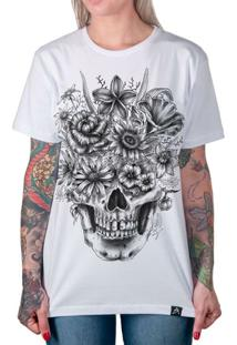 Camiseta Caveira Com Flores Artseries Feminina - Feminino