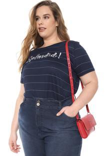 Blusa Cativa Plus Listrada Paetês Azul-Marinho