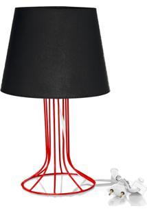 Abajur Torre Dome Preto Com Aramado Vermelho