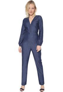 Macacão Jeans Maria Filó Slim Abotoamento Azul