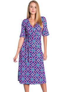 Vestido Geométrico Com Faixa Moda Evangélica