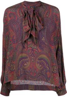 Polo Ralph Lauren Blusa Com Estampa Paisley E Laço Na Gola - Vermelho