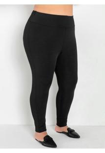 Legging Preta Com Cós Largo Plus Size