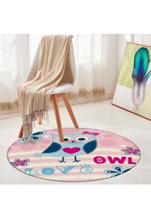 Tapete Redondo Wevans Owl 94Cm - Multicolorido - Dafiti