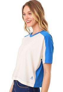 Blusa Cantão Bicolor Off-White/Azul
