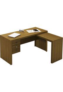 Mesa Para Escritório Me4106 3 Gavetas Amêndoa - Tecno Mobili