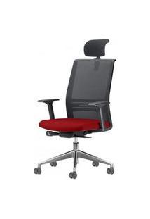 Cadeira Agile Presidente Com Encosto De Cabeca Assento Crepe Vermelho Base Aluminio Piramidal E Rodizio Em Pu - 55712 Vermelho