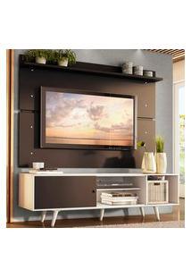 Rack Madesa Dubai E Painel Para Tv Até 65 Polegadas Com Pés - Branco/Preto 7377 Branco