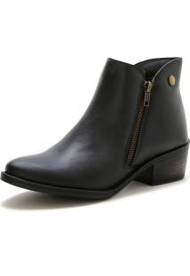 Bota Mr Shoes Zíper Cano Curto Com Salto 6706 Preta