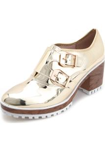 Ankle Boot Flatform Moleca Metalizada Fivelas Dourado