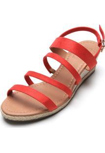 Sandã¡Lia Bebec㪠Anabela Vermelha - Vermelho - Feminino - Dafiti