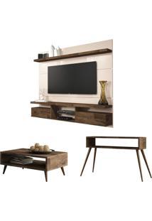 Painel Tv Livin 1.8 Com Mesa De Centro Lucy E Aparador Quad Deck/Off White - Hb Móveis