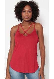 Blusa Com Tiras Transpassadas- Vermelho Escuro- Trittriton