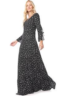 Vestido Enfim Longo Estrelas Preto/Branco