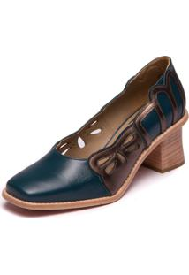 Sapato Mzq Azul Noite Metalizado Bronze - Lynda Carter 9303