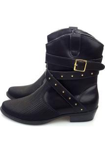 Bota Love Shoes Cano Curto Country 3 Tiras Cruzada Detalhe Preto