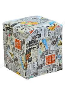 Puff Quadrado Decorativo Jornal Impermeabilizado 427 Lymdecor Cinza