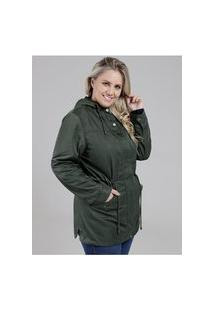 Jaqueta Parka Com Capuz Plus Size Feminina Verde