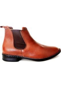 Botina Masculina Em Couro Riber Shoes Com Elastico - Masculino-Caramelo