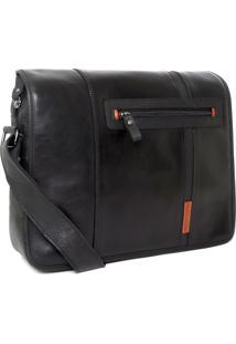 Bolsa Bennemann Carteiro Em Couro Laptop 14 Siena 0127 Preta