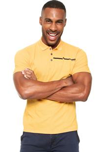 Camisa Polo Calvin Klein Jeans Estampada Amarela