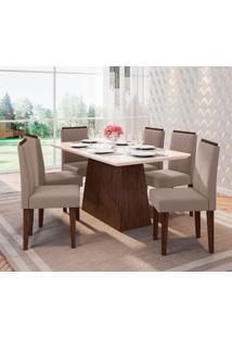 Conjunto De Mesa De Jantar Bárbara Com 6 Cadeiras Estofada Amanda Veludo Branco Marrom Claro