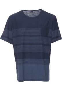 Camiseta Rovitex Plus Listrada Azul-Marinho