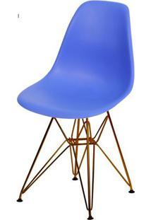 Cadeira Eames Polipropileno Azul Escuro Base Cobre - 45976 Sun House