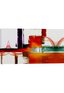 Quadro Abstrato Quadrados Vermelho 55X100Cm