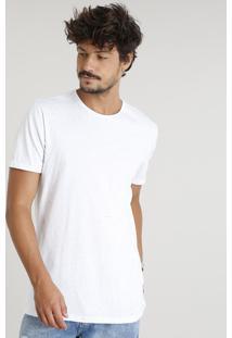 Camiseta Masculina Longa Botonê Manga Curta Gola Careca Branca
