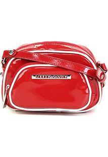 Bolsa Loucos & Santos Mini Bag Verniz Vivo Contrastante Verniz Feminina - Feminino-Vermelho